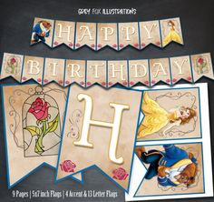 Beauty and The Beast Banner, Belle Birthday Banner, Printable Banner, Party, Princess Banner, Happy Birthday Banner, Favors, Digital Banner