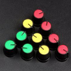 20ピースプラスチックボリュームコントロールノブ/ポテンショメータノブキャップ用エンコーダポテンショメータ6ミリメートル丸軸
