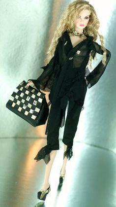 fashion royalty barbie black bloysepants gold by dollsalive