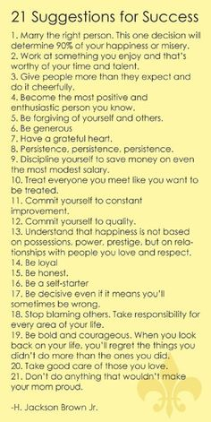 21 suggestions for success!