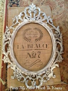 DIY Framed French Grain Sack! A Great Idea......See more at thefrenchinspiredroom.com
