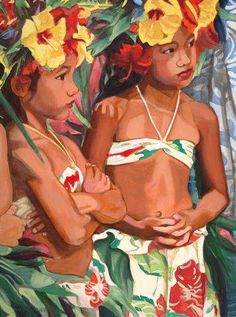 """Young Dancer w/ Yellow Hibiscus"" Limited Edition Giclee on Canvas by Suzy Papanikolas - at Maui Hands"