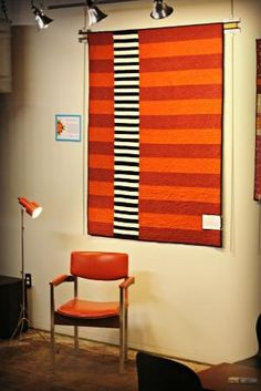 """Agnes's """"The Scully"""" from the Oklahoma City Modern Quilt Guild. by elaine - Inspired by the artwork of Sean Scully Patchwork Quilting, Easy Quilts, Small Quilts, Striped Quilt, Striped Fabrics, Quilt Modernen, Modern Quilt Patterns, Contemporary Quilts, Quilting Designs"""