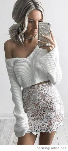 White sweater and lace skirt | Inspiring Ladies