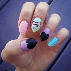Pastel goth stiletto hand-painted fake nails