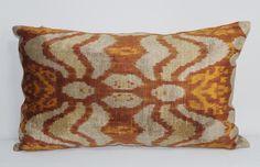 İkat Velvet Pillow Cover, 14'' x 23.5'' , Decorative Pillow, Handmade Silk Pillow, İkat Lumbar Pillow,  Shipping with Fedex 1-3 days by salihtex on Etsy https://www.etsy.com/listing/266421581/ikat-velvet-pillow-cover-14-x-235