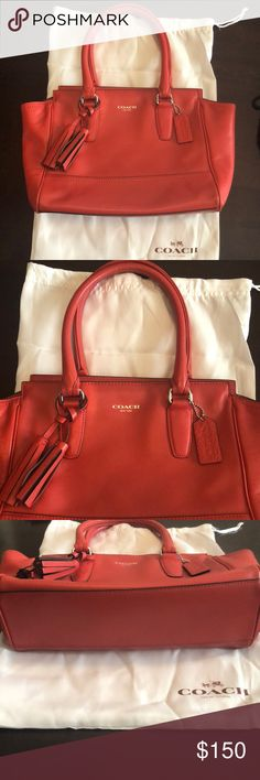 Red Coach purse Medium sized red leather Coach purse Comes with duster bag 4 pockets on the inside, 2 that zip One zipper pocket on the outside Tassel and tag on the outside for details  I love how wide you can make the purse or how thin without wearing out the shape! 👜 Coach Bags Totes