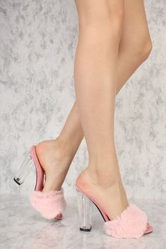 5f01eb43fa206 Pink Open Toe Faux Fur Detailing Slip On Clear Chunky Heels