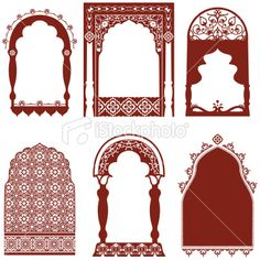 A collection of ornate arched windows featuring carved floral designs, inspired by the art of mehndi . Pooja Room Door Design, Wall Design, House Design, Ganapati Decoration, Decoration For Ganpati, Indian Window Design, Morrocan Decor, Indian Doors, Mehndi