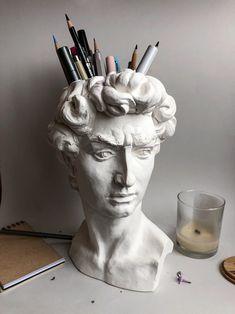 Michelangelo, Sculpture Head, Sculptures, Statues, Pinturas Disney, David, Plastic Pots, Desk Organization, Vases Decor