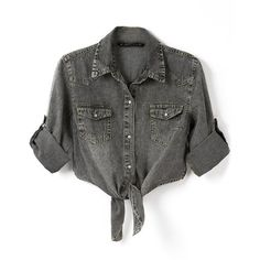 Chicnova Fashion Irregular Short Denim Blouse ($26) ❤ liked on Polyvore featuring tops, blouses, shirts, crop tops, shirt top, denim blouse, denim top, shirt blouse and short length shirts