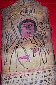 Antique Ethiopian Orthodox Christian Ge'ez Healing Vellum Magic Scroll Ethiopia  #EthiopianScribesPriests Orthodox Christianity, Antiquities, Ethiopia, African Art, Religion, Healing, Icons, Culture, Symbols