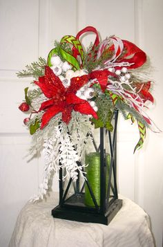 Red and White Christmas Lantern Swag, Poinsettia Lantern Swag, Christmas Topper, Christmas Lantern Swag, Winter Swag by LisasLaurels on Etsy