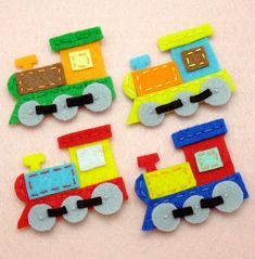 #sintetinis filcas #traukinys 8 pcs - Handmade train felt appliques (G065-Ass). $10.40, via Etsy.