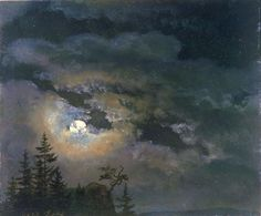 Johan Christian Dahl - A cloud and landscape study by moonlight (1822)