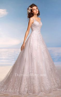 f0344dde3e8  Dorris Wedding -  Dorris Wedding A-Line Long Spaghetti Sleeveless Illusion Lace  Dress
