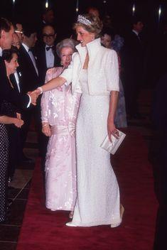 "Princess Diana Fashion | Princess Diana in her Catherine Walker ""Elvis"" dress."
