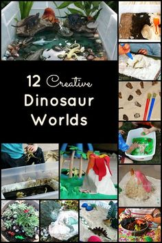 Dinosaur Play Worlds Dinosaur Activities for Creative Small World and Sensory Play Activities Dinosaurs Preschool, Dinosaur Activities, Dinosaur Crafts, Sensory Activities, Preschool Activities, Dinosaur Play, Dinosaur Birthday, Dinosaur Diorama, Sensory Bins
