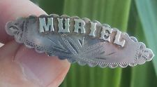 Edwardian Sterling Silver Name Brooch 1906 Birmingham  -   MURIEL Victorian Names, Victorian Jewelry, Vintage Jewelry, Name Jewelry, Birmingham, Brooch Pin, Brooches, Cuff Bracelets, Initials