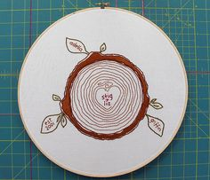 I love this! Embroider your family tree on this cute tree ring :) Pattern in her etsy shop.