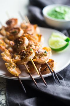 Cilantro Lime Grilled Shrimp with Avocado Cilantro Dip ~ Grilled shrimp are marinated in lime juice, honey and jalapeno pepper, then grilled for a quick and easy, healthy appetizer that's perfect for Summer! ~ http://www.julieseatsandtreats.com