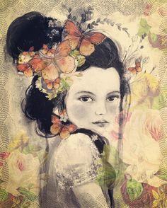 Marion con rosas vintage por claudiatremblay en Etsy