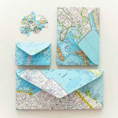 Diy Crafts Ideas : DIY Map Envelopes