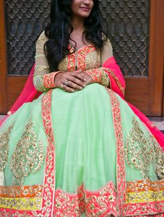 Gota patti mint and hot pink anarkali lehenga OMG @ska11