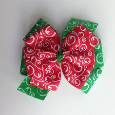 Christmas Swirl Bow Red Green Layered Pinwheel by KatiebugBows, $7.00