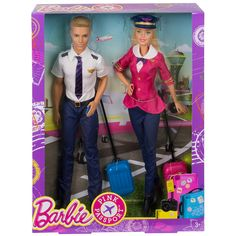 The skies are even friendlier when Barbie and Ken dolls are piloting the plane! These two dolls are prepared for take off dressed in snazzy airline uniforms. Ken is dashing with short sleeves and a tie, and Barbie doll shows her signature style with a pink coat and bow tie. Barbie doll accessorizes with a classic pilot cap bearing an emblem, and both have their passports and come with carry-on luggage (Barbie dolls is in pink, of course!). Bon voyage! Includes Barbie doll, Ken doll and…