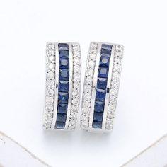 Emily Blue Sapphire & Diamond Earrings in 14k Gold by Equalli.com