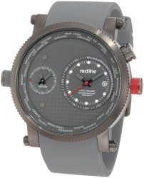 red line Men's RL-50037-GM-014-GY Specialist World Time Grey Dial Grey Silicone Watch