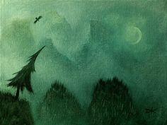 Original acrylic on 6x8 canvas panel painting   Tree by Pugcasso, $22.50