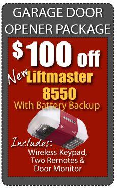 Garage Door Opener Package $499   Liftmaster 8550 with battery backup.  Open your garage door with your Iphone.
