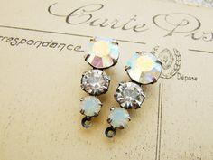 Antiqued Silver Ox Swarovski AB Crystal White Opal Triple Rhinestone Drops Peach Black Diamond Jonquil Teardrop Dangles - Pair by alyssabethsvintage on Etsy