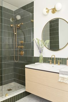 Bathroom decor for the master bathroom remodel. Learn master bathroom organization, bathroom decor ideas, master bathroom tile some ideas, master bathroom paint colors, and much more. Bathroom Inspo, Bathroom Inspiration, Bathroom Sconces, Green Bathroom Tiles, Bathroom Cabinets, Bathroom Trends, Bathroom Beadboard, Green Tiles, Neutral Bathroom