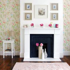 White vases with a few flowers or painted vase accents in pink and coral