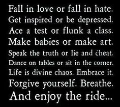 Fall in love or fall  in hate.  Get inspired or be depressed.  Ace a test or flunk a class.  Amke babies or make art.  Speak the truth or lie and cheat.  Dance on tables or sit in the corner.  Life is divine chaos. Embrace it.  Forgive yourself. Breathe. And enjoy the ride...