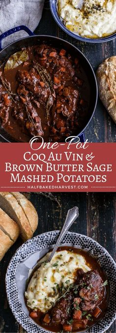 One-Pot 45 Minute Coq au Vin with Brown Butter Sage Mashed Potatoes | http://halfbakedharvest.com /hbharvest/