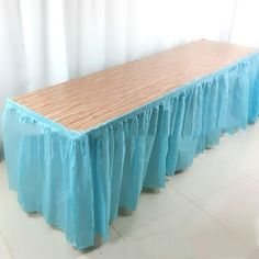 Long Plastic Disposable Table For Party Activities - Light Blue / 4.2x0.7m