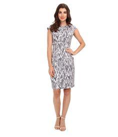 Calvin Klein Calvin Klein  Cap Sleeve Printed Sheath Dress BlackMoonWhite Multi Womens Dress for 77.99 at Im in!