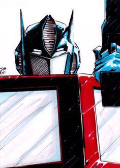 OPTIMUS PRIME transformers autobots sketch card by paintedheroes d1ee7eb2d15
