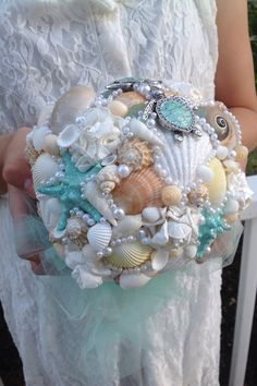 Beach Bouquet Seashell Turtles By BeachBasketBride On Etsy BouquetWedding