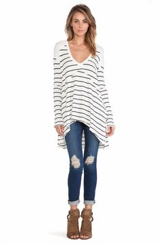 Free People Striped Sunset Park Thermal in Ivory Combo Small $78 FTC #4452