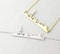 Pray for Paris Necklace / Paris City Skyline Necklace - Gold & Silver
