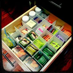 Oh, pretty tea drawer! I have a tea drawer this big... why not make it all neat and tidy like this one?