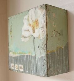 """wall hanging flower made using plaster, acrylic, and inscribed beeswax on 4"""" thick 8""""x8"""" wood"""