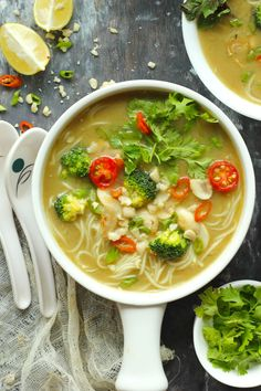 This Thai Green Curry Soup is a healthy, hearty, bowl of comfort soup. Find how to make quick and easy Vegan Thai Green Curry Soup.