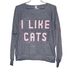 I Like Cats Raglan Select Size by BurgerAndFriends on Etsy, $26.00