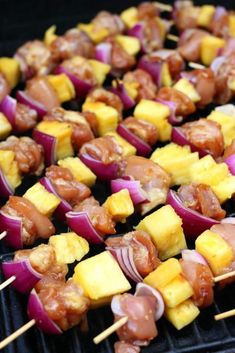 Chicken and Teriyaki Pineapple Skewers Kebab Recipe Chicken Cabobs, Chicken Kabob Marinade, Chicken Kebab, Bbq Chicken, Teriyaki Pineapple Chicken, Shishkabobs Recipe, Teriyaki Chicken Skewers, Kebabs On The Grill, Shish Kabobs